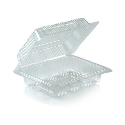 Lot Of 100 Transparent Food Container Plastic Disposable Box Packaging Bakery