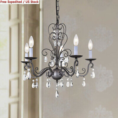 Wrought Iron Rustic Vintage Antique nickel Candle Chandelier Crystal B5