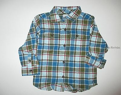 Gymboree Silly Monkey Plaid Flannel Shirt Top Boys 18-24 months Twins NEW NWT