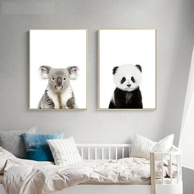 Wall Art Canvas Painting Baby Animal Cat Tiger Panda Posters Decorative Kid Room