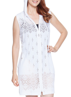 a0c0174d33d Dotti Women's Swimsuit Cover Up Gypsy Dance Tunic Hoodie White Laser Cut