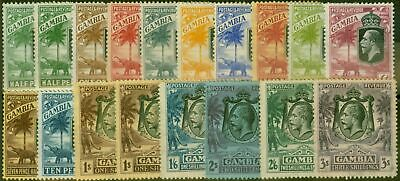 Gambia 1922-28 Extended set of 18 to 3s SG122-138 Good - Fine Mtd Mint CV £250