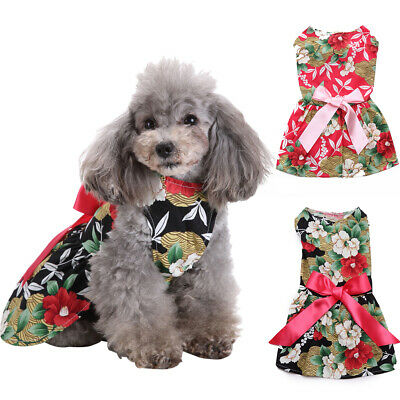 Lovely Floral Pattern Sleeveless Big Bow Dog Puppy Dress Summer Pet Clothes Conv