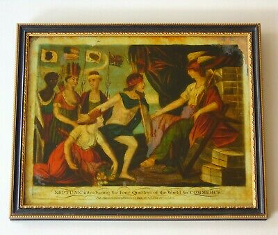 Antique Reverse Painting On Glass Early 19th Century Neptune