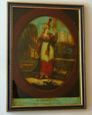 Regency Reverse Painting On Glass Early 19th Century An Emblem of Asia