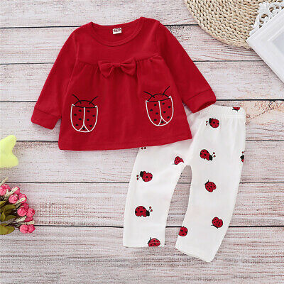 UK Newborn Baby Girl Infant 2pcs Cute Beetle Clothes Shirt Tops Pant Outfits Set