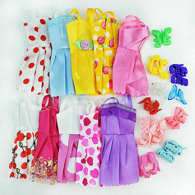 10 Pcs/ Lot Wedding Gown Dresses+10 Shoes Party Outfit For Doll clothing Toy Kid