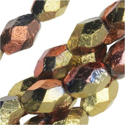 Czech Fire Polished Glass Beads, Oval 8x6mm, 20 Pcs, Etched California Gold Rush