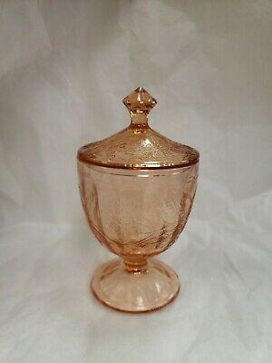Vintage Jeanette Pink Depression Covered Candy Dish, Floral Poinsettia Pattern