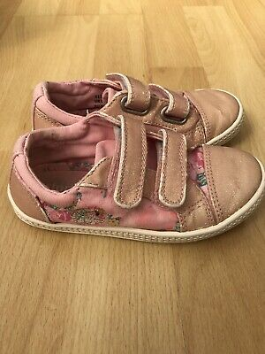 Startrite Girls Shoes Trainers Pink Canvas Velcro Glitter Floral Sequins 8.5