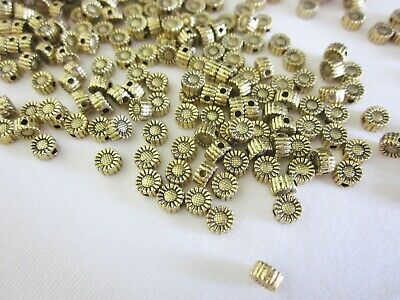 50 Antique Gold Coloured 5mmx3mm Sunflower Spacer Beads #sp3434 Jewellery Making