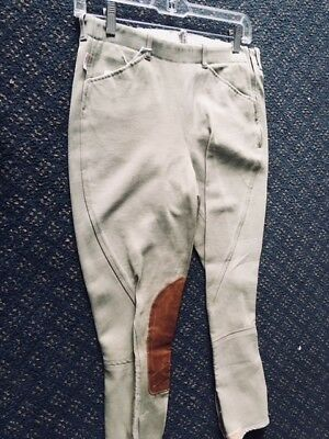 TAILORED SPORTSMAN Side Zip Horse RIDING Breeches Youth sz 18 *VGC* Green/Beige
