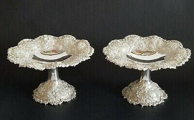Gorgeous Antique Sterling Silver Repousse Pair Tazza Kirk & Son