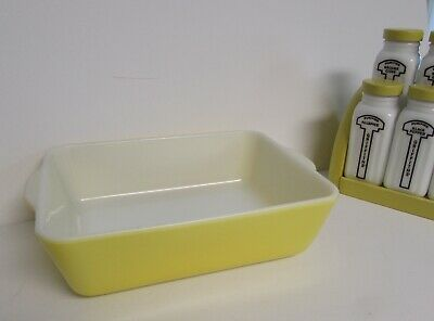 Pyrex 1 1/2 Qt Primary Color Yellow Refrigerator Dish #0503 Bake Or Cool No Lid
