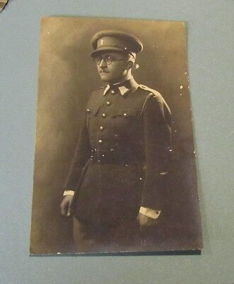 WWI Bulgarian Army Officer Soldier Posing Full Uniform RPPC Real Photo Postcard