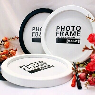 Creative Round Photo Frame Wall Mounted Wooden Picture Holder Living Room Decor