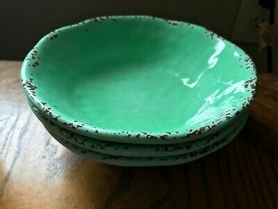 "NEW Set 3 Tommy Bahama Mint Light Green Rustic Crackle Melamine 7"" Cereal Bowls"