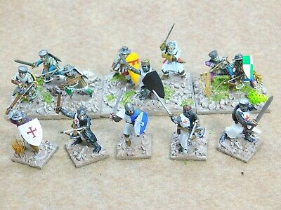 28mm Medieval FOOT KNIGHTS / CROSSBOWMEN x13 Well Painted 62456