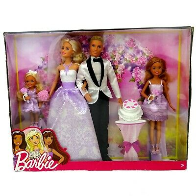 Barbie Bride and Groom Wedding Gift Set with Stacie Chelsea New in WORN Box