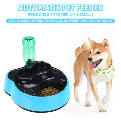 Automatic Pet Feeder Food Water Dispenser with Voice Record Remind Timer W3N7