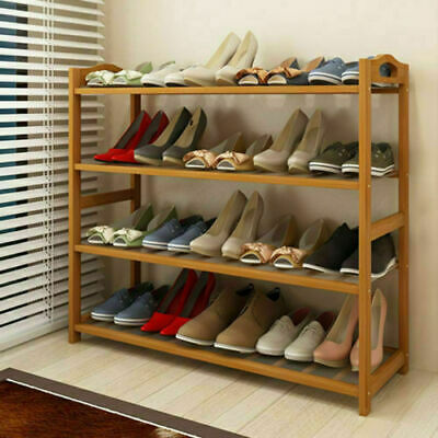 4 Tiers Bamboo Shoe Rack Storage Save Space Shoes Holder Wooden Shelf Organizers