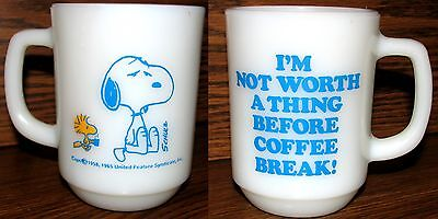 "Vintage Snoopy Cup Anchor Hocking Fire King ""I'm Not…Before Coffee Break"" RARE"