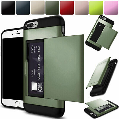 For Apple iPhone 7 Plus Shockproof Heavy Duty Armor Case Back Card Pocket Cover