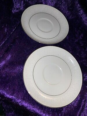 2 Crown Victoria Lovelace Saucers Fine China Made in Japan