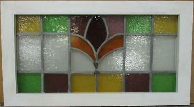 "MIDSIZE OLD ENGLISH LEADED STAINED GLASS WINDOW Bordered Abstract 26.5"" x 14.5"""