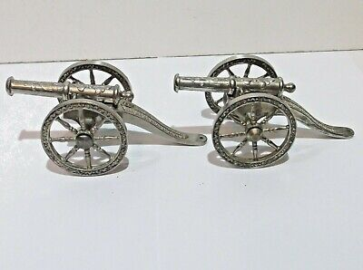 "Vintage pair of 6"" silver plated ornate cannons made in England"