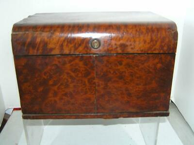 Antique 1860's Bramah London Writing Desk Box Burl Wood Brass with Key Lock