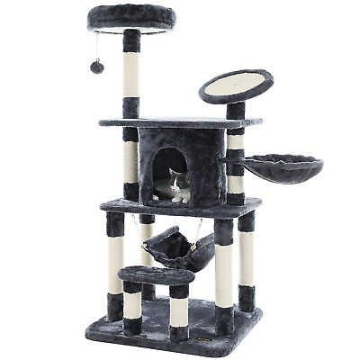 FEANDREA Cat Tree Multi-level Cat Play House Sisal Scratching Pad and Posts
