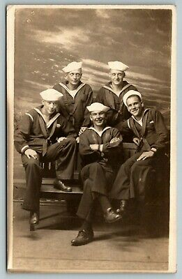 San Francisco~RPPC Myself & Happy Sailor Friends~Studio US Flag @ Sea~WWI c1918