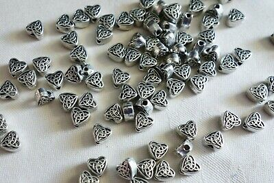 20 Antique Silver Coloured 6mmx3mm Celtic Heart Spacer Beads #sp0082 Craft