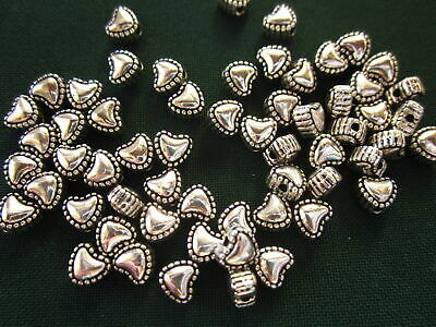 30 Antique Silver Coloured 5mm x 2mm Heart Spacer Beads #sp0169 Jewellery Making