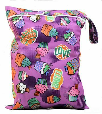 Wet Bag baby nappy bag swimming cloth nappies resuable Purple cupcake