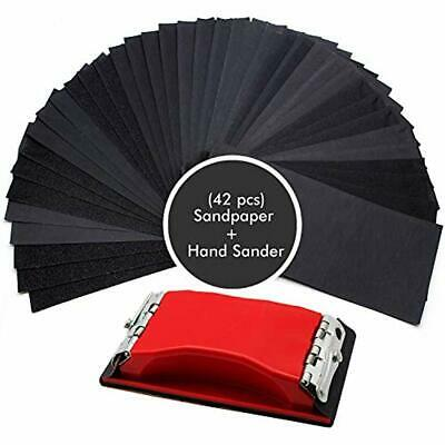 WaterLuu Sandpaper Sanding Sheets Wet Dry 120 To 3000 Assorted Grit With Block -