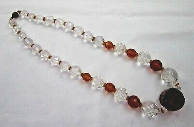 Lovely vintage Art Deco jewellery amber & clear crystal bead necklace.
