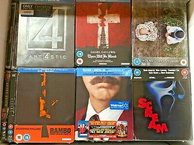 6 Sealed Blu-ray Steelbook**FANTASTIC 4/RAMBO/SCREAM/ANCHORMAN/PYJAMAS/BLOOD