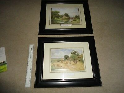 Beautiful Matching Pair Of Large Framed Prints Harvesting And River Scene 19 Cen