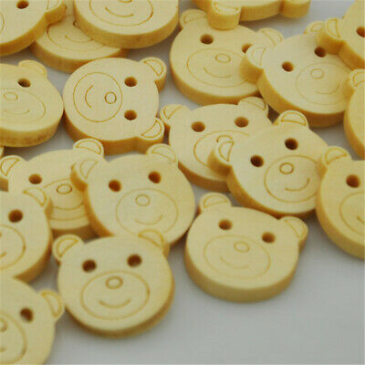 50/100pcs Mix Bear Wood Buttons 18*20mm Sewing Craft Mix Lots WB139