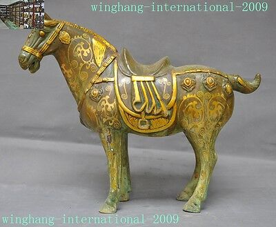 Rare old Chinese dynasty Antiques Bronze Gilt lucky animal horse Tang Ma statue