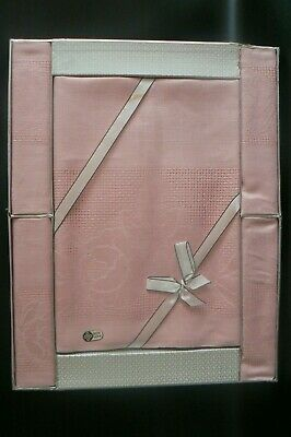 Vintage Irish Linen Pink Tablecloth & 4 Napkins Pink Original Box