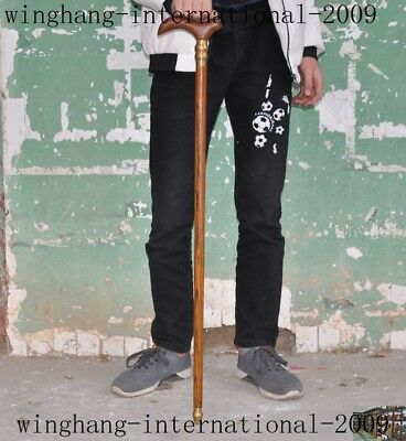 old China huanghuali Wood inlay bronze carved Walking stick crutch Crutches cane