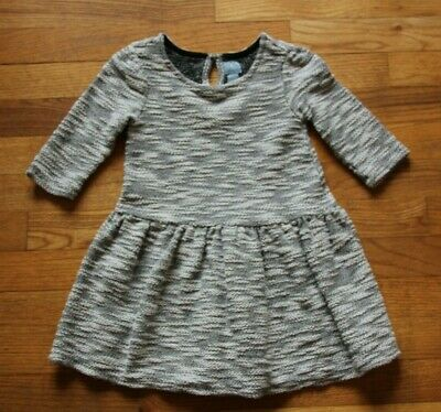 Baby Gap Girls Size 4T Dress Heathered Gray White Fit and Flare Cotton