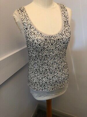 50d41ec0 Mint Velvet Sparkly Sequinned Silver Off White/ Grey Vest Top Size 12