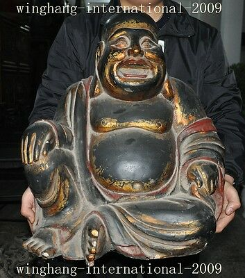 old chinese lacquerware wood gilt Hand carved Happy laugh Maitreya buddha statue