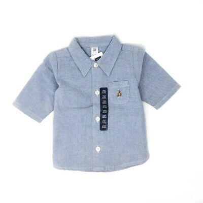 Nwt New With Tag Baby Gap Long Sleeve Oxford Button Shirt Chambray Blue 0-3