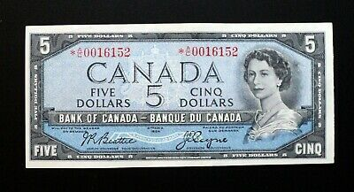 1954 BANK OF CANADA $5  BABN Printer Rare Replacement Note *A/C 0016152 BC-39aA