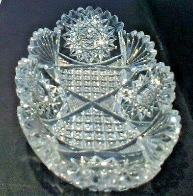 Antique  American Brilliant Period Cut Crystal Glass  Oval Relish or candy dish